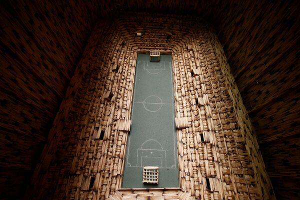 Replika stadionu w Zabrzu wykonana z zapałek - Sputnik Polska