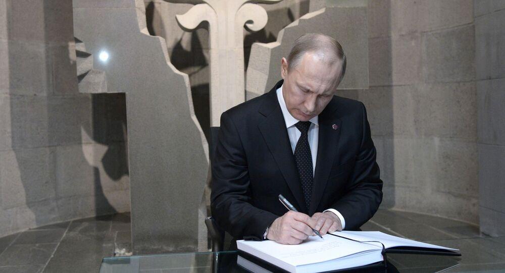 Prezydent Rosji Władimir Putin podczas wizyty w Erewanie