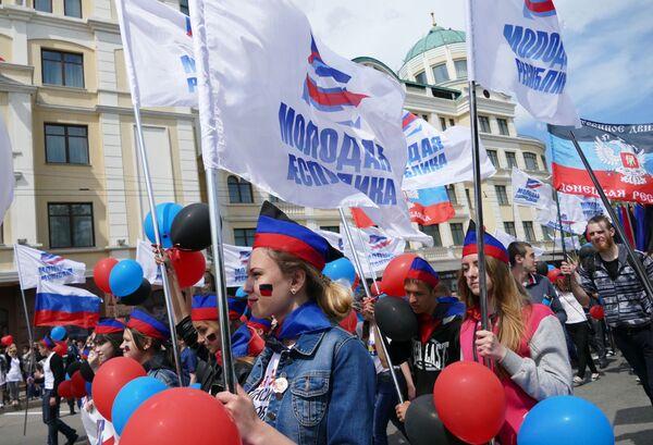 """Zacharczenko podkreślił, że """"11 maja 2014 roku naród dokonał swojego wyboru na referendum powszechnym, które stało się przełomowym momentem w historii Donbasu"""". - Sputnik Polska"""