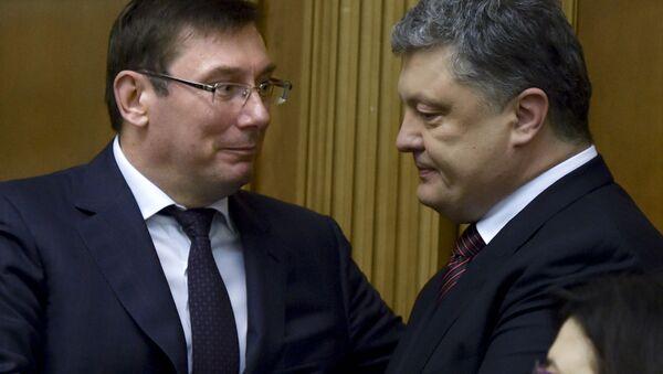 Prokurator Generalny Ukrainy Jurij Lucenko i Petro Poroszenko - Sputnik Polska