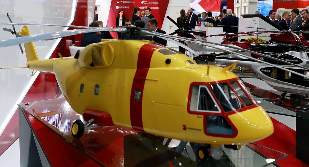 Modele helikopterów na stoisku Śmigłowce Rosji na IX Międzynarodowej Wystawie Przemysłu Śmigłowcowego HeliRussia 2016
