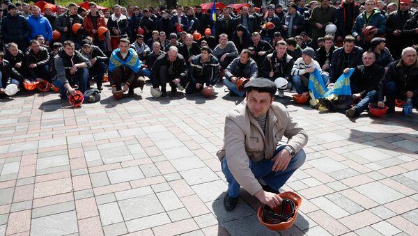Akcja protestacyjna górników przy Radzie Najwyższej Ukrainy, 23.04.2015 - Sputnik Polska
