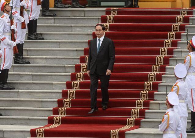 Prezydent Wietnamu Tran Dai Quang w czasie spotkania z prezydentem USA w pałacu prezydenckim w Hanowie
