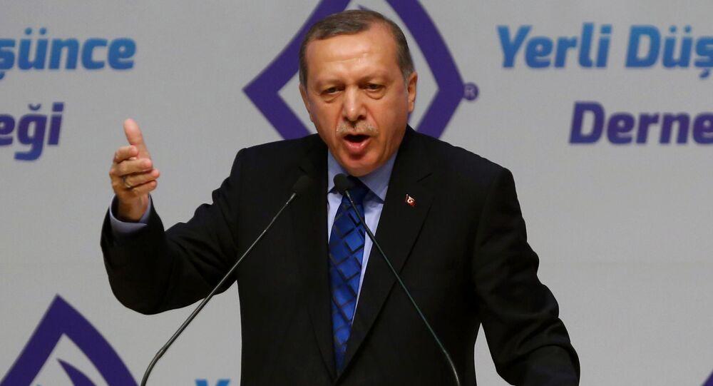 Prezydent Turcji Recep Tayyip Erdogan podczas wystąpienia w Ankarze
