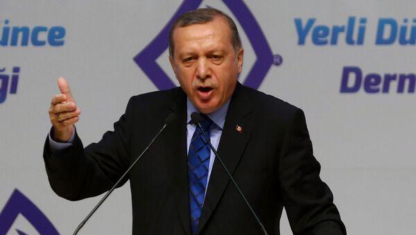 Prezydent Turcji Recep Tayyip Erdogan podczas wystąpienia w Ankarze - Sputnik Polska