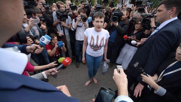 Ukraińska nawigatorka Nadieżda Sawczenko na lotnisku w Kijowie - Sputnik Polska