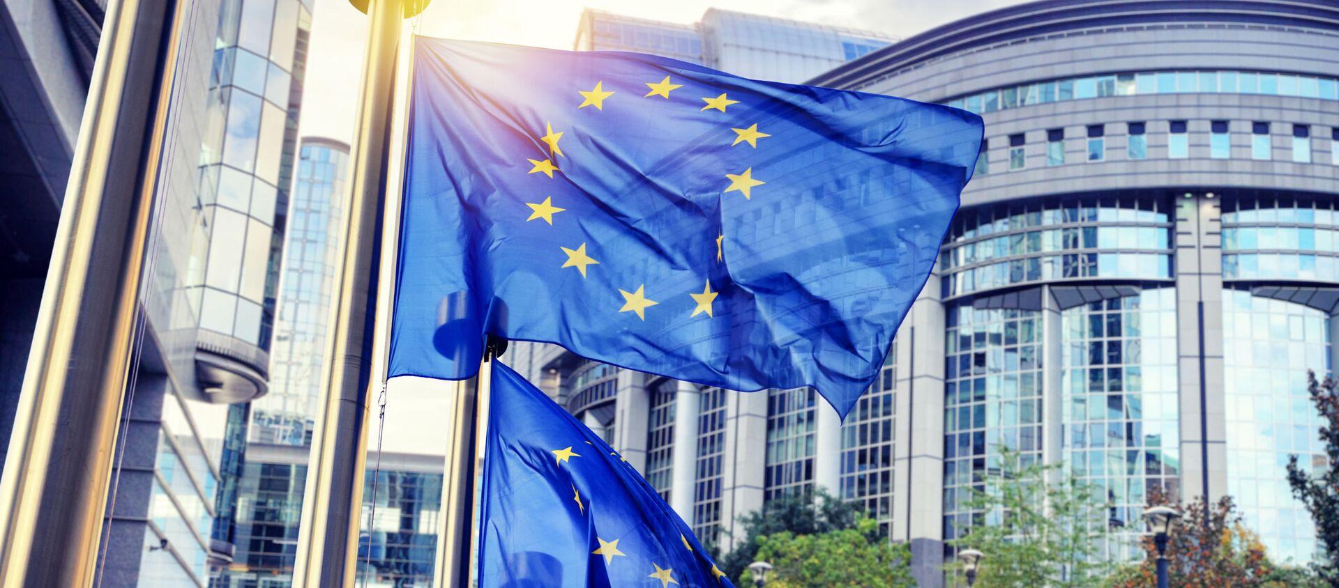 Flagi UE przed siedzibą Komisji Europejskiej w Brukseli - Sputnik Polska, 1920, 25.11.2020