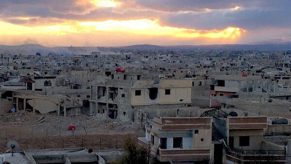 Przedmieścia Damaszku Darajja, gdzie syryjscy żołnierze walczą z oddziałami terrorystów - Sputnik Polska