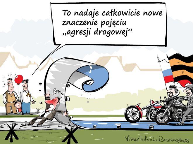 """Polska odmówiła wjazdu """"Nocnym Wilkom , karykatura"""