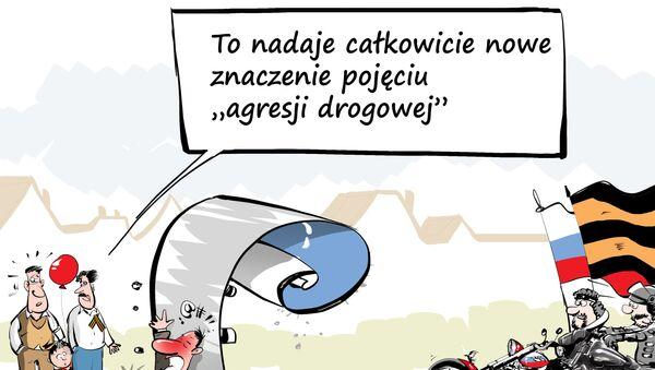 """Polska odmówiła wjazdu """"Nocnym Wilkom , karykatura - Sputnik Polska"""