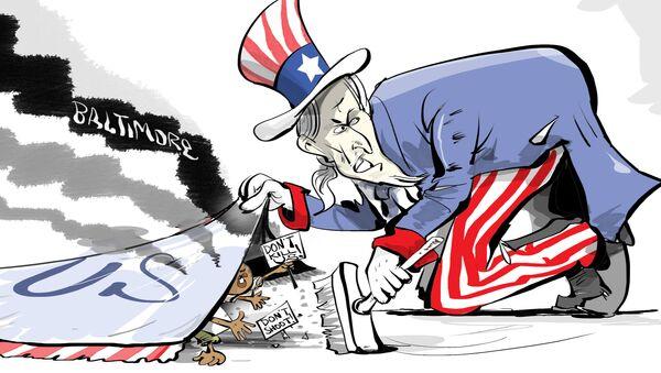 Zamieszki w Baltimore, karykatura - Sputnik Polska