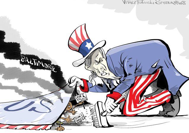 Zamieszki w Baltimore, karykatura