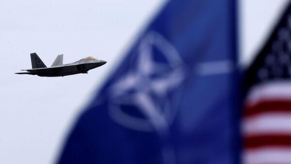 Myśliwiec F-22 Raptor i flaga NATO - Sputnik Polska