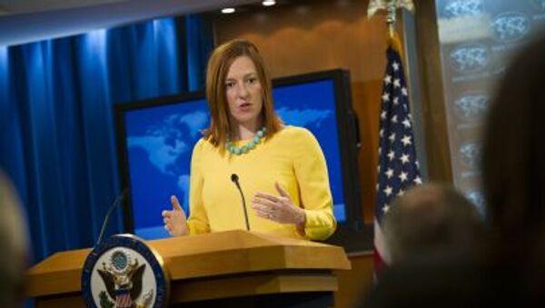 Rzecznik Departamentu Stanu USA Jens Psaki na briefingu w Waszyngtonie - Sputnik Polska