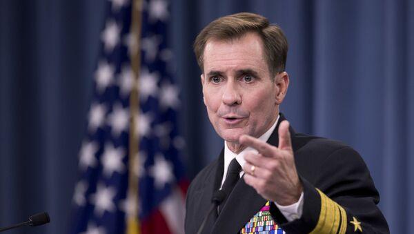 Rzecznik Departamentu Stanu USA John Kirby na konferencji prasowej w Pentagonie - Sputnik Polska