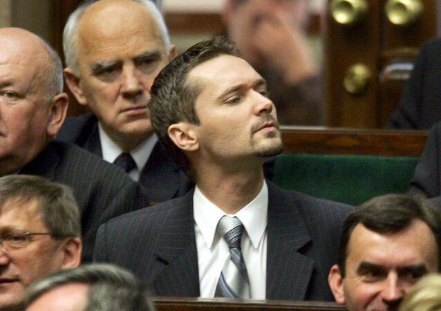 Депутат Ярослав Валенса на заседании польского сейма