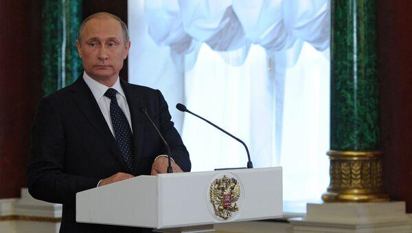 Prezydent Rosji Władimir Putin podczas wspólnej konferencji prasowej z premierem Izraela Binjaminem Netanjahu na Kremlu - Sputnik Polska
