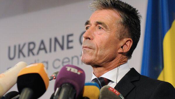Briefing sekretarza generalnego NATO Andersa Fogh Rasmussena w Kijowie - Sputnik Polska