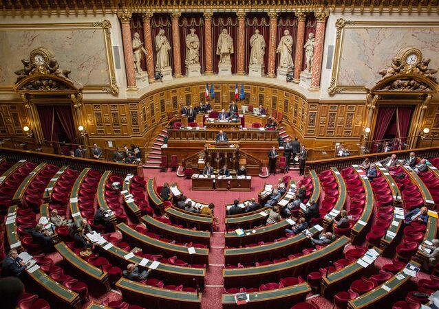 Senatorowie podczas posiedzenia francuskiego Senatu