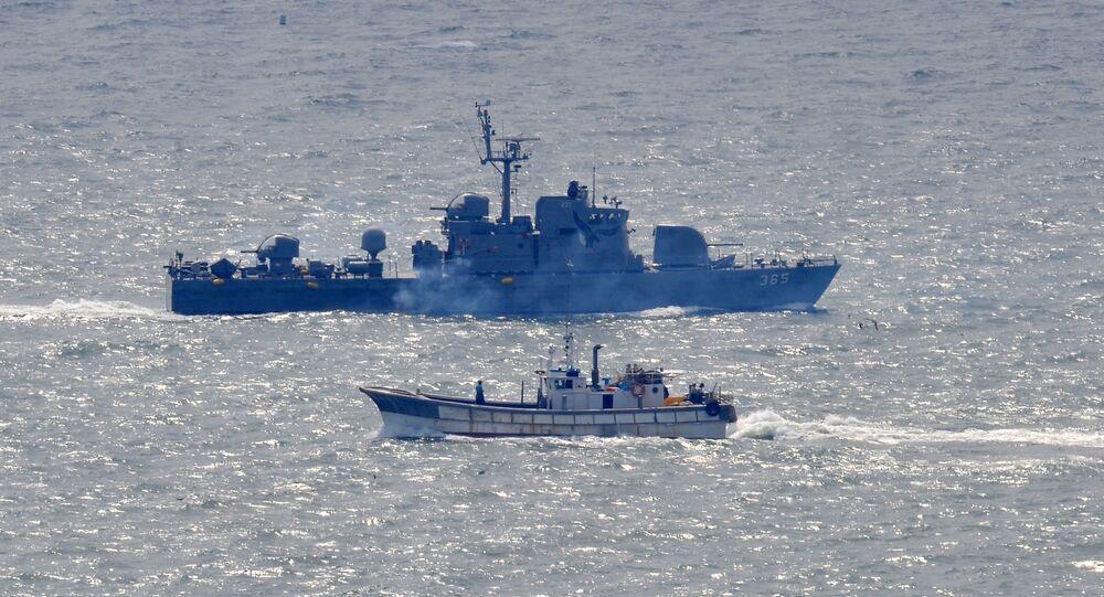 Okręt południowokoreańskiej marynarki wojennej an Morzu Żółtym