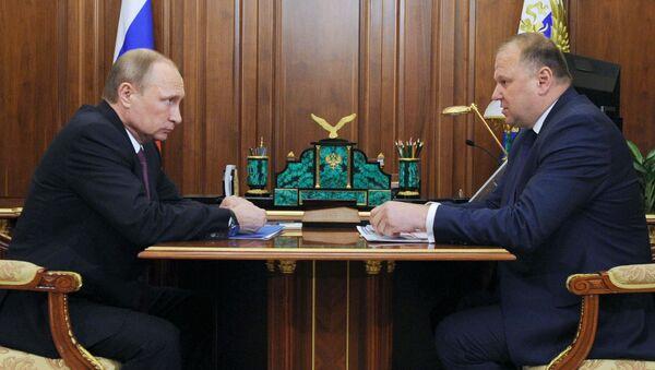 Gubernator obwodu kaliningradzkiego Nikołaj Cukanow na spotkaniu z prezydentem Rosji Władimirem Putinem - Sputnik Polska
