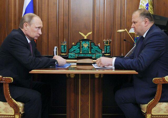 Gubernator obwodu kaliningradzkiego Nikołaj Cukanow na spotkaniu z prezydentem Rosji Władimirem Putinem