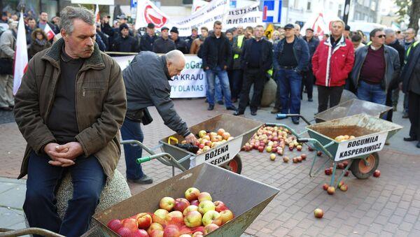 Polscy sadownicy podczas protestu - Sputnik Polska