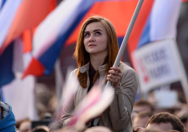 Dziewczyna podczas koncertu na placu Czerwonym