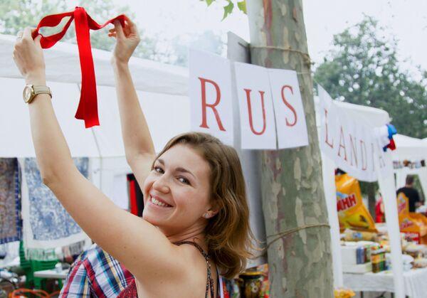 Dziewczyna podczas obchodów Dnia Rosji w Barcelonie - Sputnik Polska