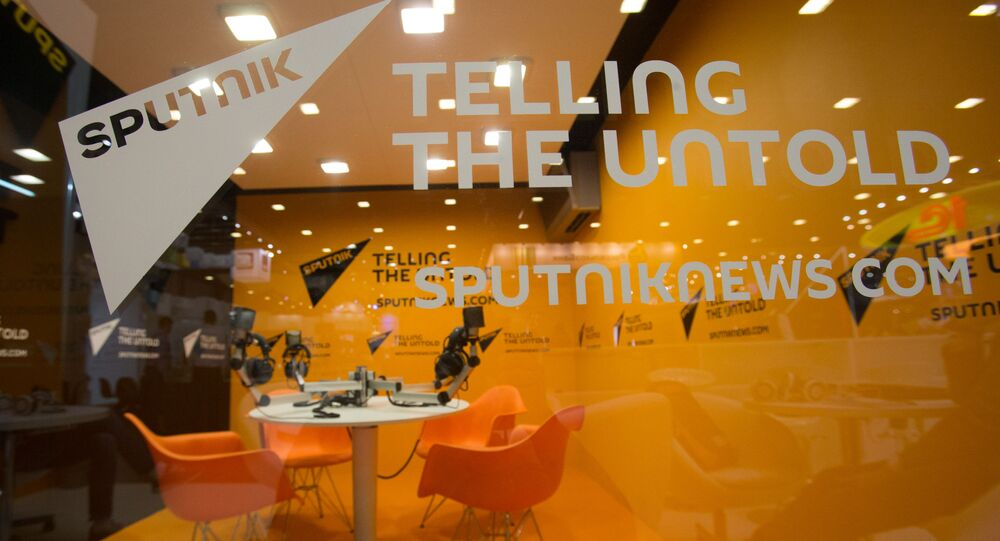 Stoisko agencji informacyjnej Sputnik na XX Międzynarodowym Forum Gospodarczym w Petersburgu 2016