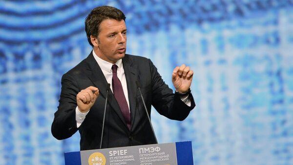 Matteo Renzi występuje na Petersburgskim Forum Ekonomicznym. - Sputnik Polska