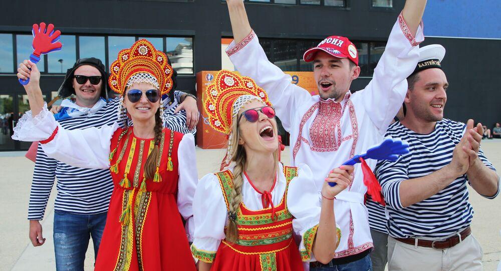 Rosyjscy kibice przed meczem Anglia - Rosja podczas Euro-2016