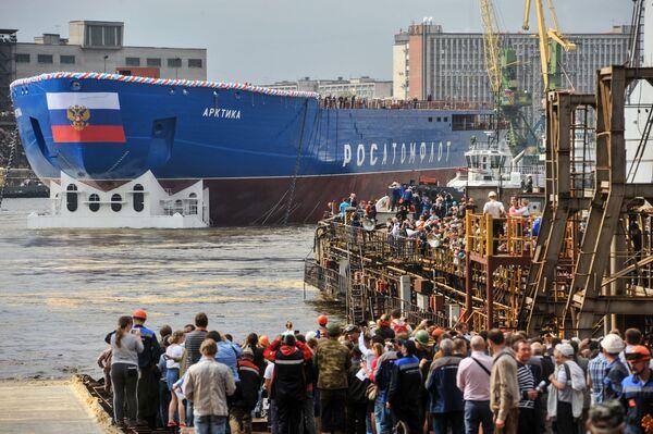 """""""Arktyka"""" będzie wiodącym okrętem projektu 22220 i da początek grupie lodołamaczy o napędzie atomowym, niezbędnych do opanowania Arktyki i umocnienia obecności Rosji w tym regionie. - Sputnik Polska"""
