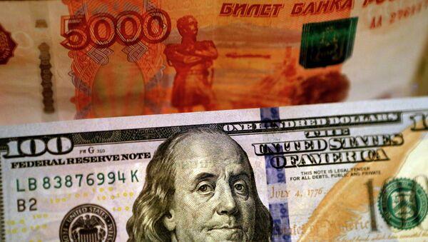 Banknoty USA i Rosji - Sputnik Polska