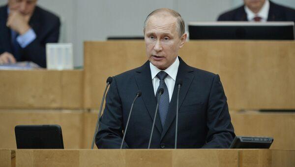 Prezydent Rosji Władimir Putin na plenarnym posiedzeniu Dumy Państwowej Rosji - Sputnik Polska