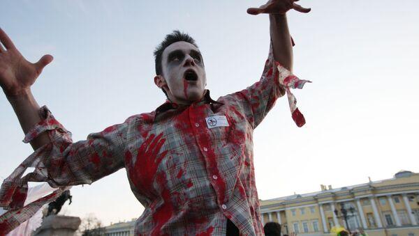 Chłopak przebrany za zombie - Sputnik Polska