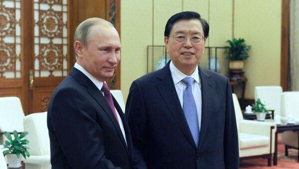 Spotkanie prezyenta Rosji Władimira Putina z przewodniczącym Stałego Komitetu Ogólnochińskiego Zgromadzenia Przedstawicieli Ludowych Zhangiem Dejiangiem podczas wizyty w Pekinie - Sputnik Polska