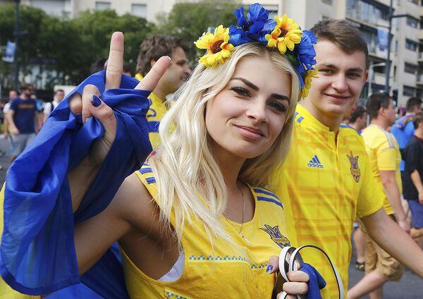 Ukraińska kibicka na Euro 2016 - Sputnik Polska
