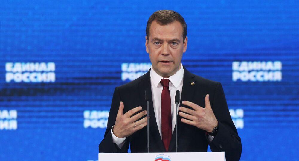 Premier Rosji Dmitrij Miedwiediew na 15. zjeździe Jednej Rosji