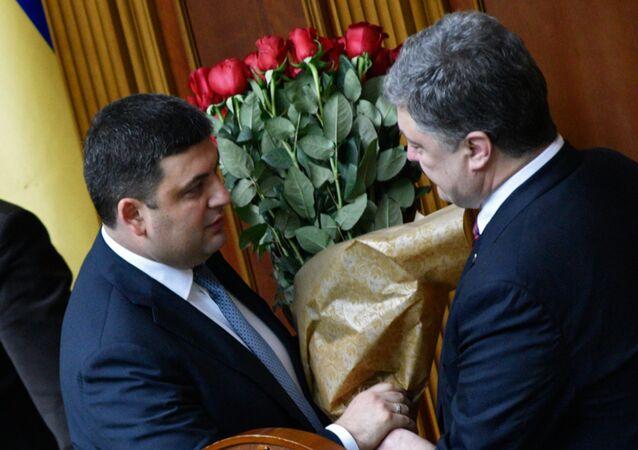 Władimir Hrojsman i Petro Poroszenko
