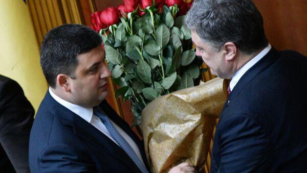 Władimir Hrojsman i Petro Poroszenko - Sputnik Polska