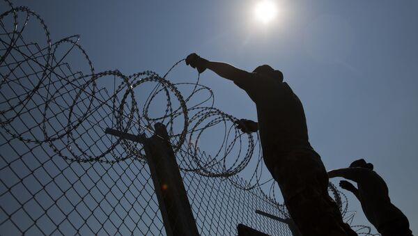 Budowa ogrodzenia przeciwko uchodźcom na granicy Węgier i Serbii - Sputnik Polska