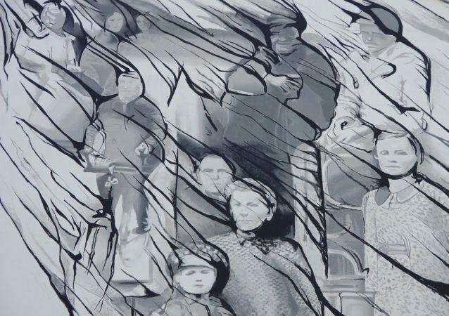 Graffiti upamiętniające ofiary rzezi wołyńskiej (Warszawa, ul. Młyniarska. Autor - Mikołaj Ostaszewski)