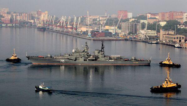 Oddział okrętów Floty Pacyficznej we Władywostoku po zakończeniu rosyjsko-chińskich ćwiczeń Morskie Współdziałanie 2014 - Sputnik Polska