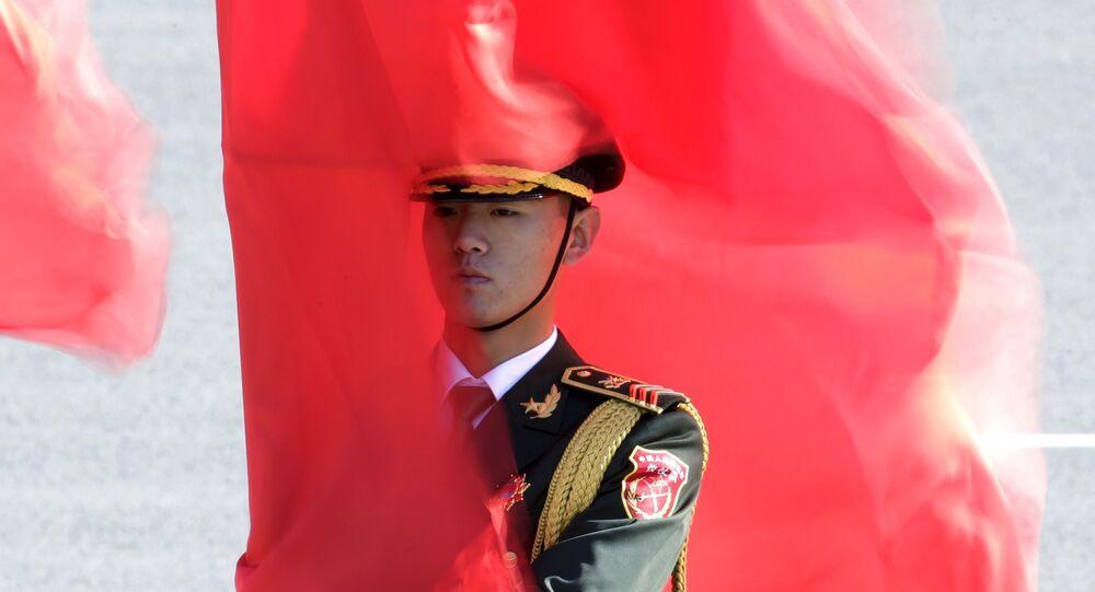 Żołnierz gwardii honorowej w Chinach