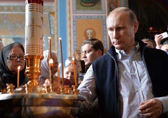 Prezydent Rosji Władimir Putin w Waałamskim Monasterze