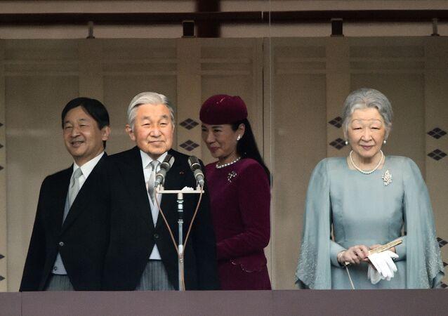 Cesarz Japonii Akihito z żoną Michiko