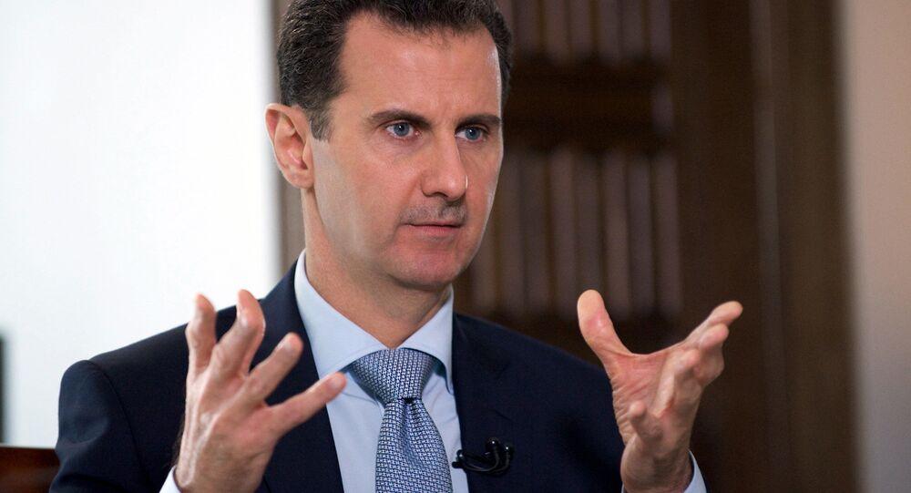 Prezydent Syrii Baszar Asad w czasie wywiadu z Dmitrijem Kisieliowym