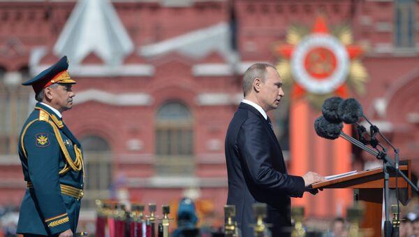 Prezydent Rosji Władimir Putin na Defiladzie Zwycięstwa 9 maja 2015 - Sputnik Polska