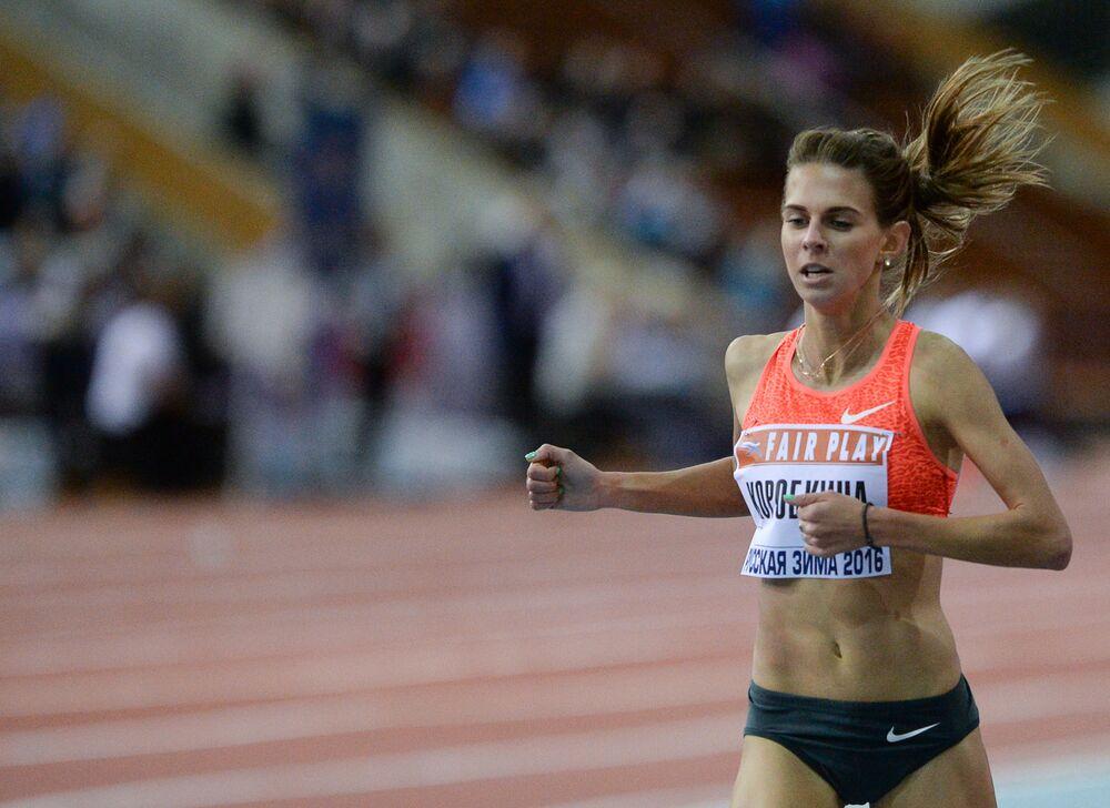 Jelena Korobkina - bieg na 1500 metrów, zawody lekkoatletyczne Rosyjska zima 2016.